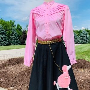 Other - Vintage Poodle Skirt, Blouse, Gold Medallion Belt